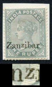 Zanzibar SG17D 1r Slate with Small Second z Variety M/M