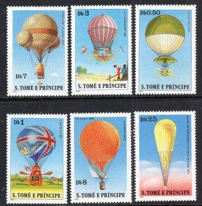 Sao Tome and Principe 555-560 Hot Air Balloons MNH VF
