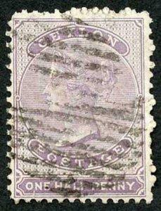 Ceylon SG48 1/2d Dull Mauve Wmk Crown CC Used