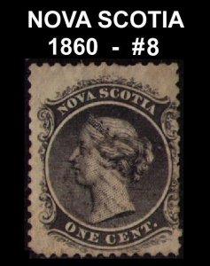 CANADA, NOVA SCOTIA QUEEN VICTORIA 1860 1c BLACK #8 USED CV 7.50