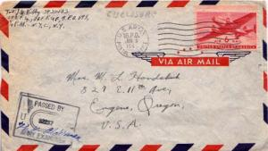 United States, Airmail, Transport Issue, Censored, U.S. A.P.O.'s