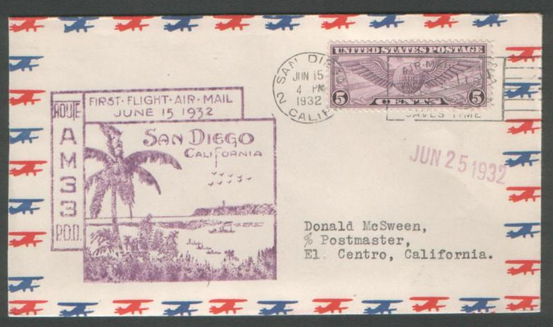 USA 1932 First Flight San Diego Ca. Route AM 33.