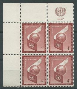 UN-New York # C5  4c Airmail MI block/4  - UL Mint NH