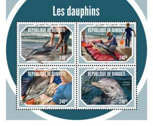 DJIBUTI - 2018 - Dolphins - Perf 4v Sheet - M N H