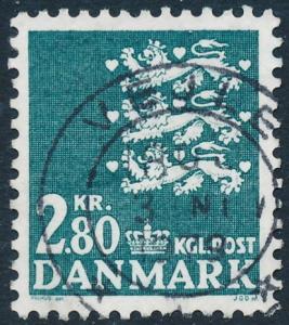 Denmark Scott 643 (AFA 680), 2.80Kr blue-green Small Arms type, F-VF Used
