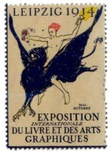 Germany 1914 Leipzig Book & Graphics Arts Expo Poster Stamp (French Text)