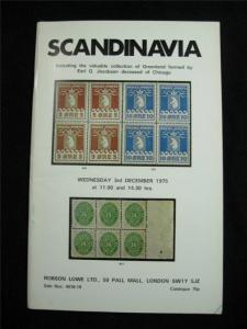 ROBSON LOWE AUCTION CATALOGUE 1975 SCANDINAVIA 'EARL G JACOBSEN' COLLECTION