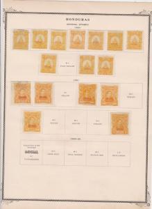 honduras stamps on 1 album page ref 13481