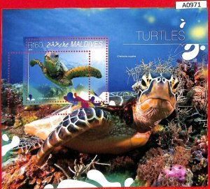 A0971 MALDIVES - ERROR MISSPERF SHEET - 2014  TURTLES ЧЕРЕПАХИ