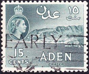 ADEN 1959 QEII 15c Greenish-Grey SG53 used