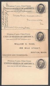 Scott UX15, Three Cards, Postal Cards