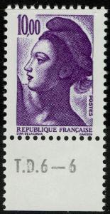 France 1890  MNH - 10Fr Liberty (1983)