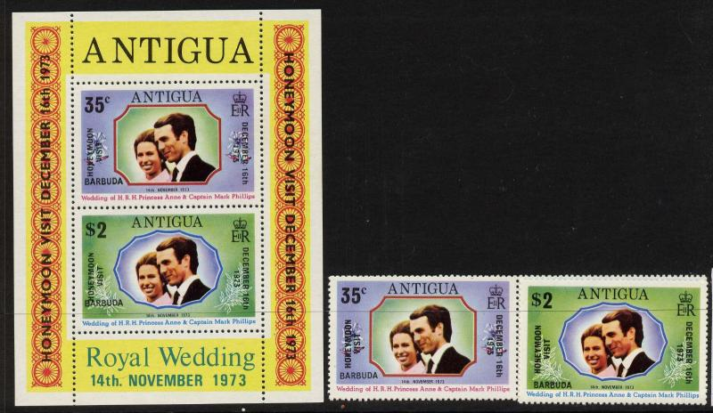Barbuda 136-7a MNH Princess Anne, Mark Phillips, Honeymoon Visit o/p