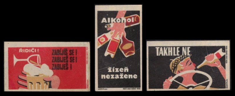 SET OF 3 OLD POSTER LABELS / CINDERELLA ? DO NOT DRINK AND DRIVE