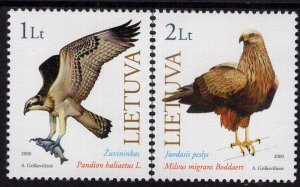2000 Lithuania 731-732 The Red Book of Lithuania: Birds of prey
