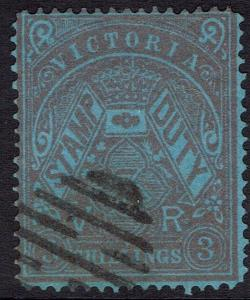 VICTORIA 1884 CROWN VR STAMP DUTY 3/- POSTALLY USED