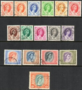 1954 Rhodesia & Nyasaland Sg 1/14 Short Set of 16 Values Fine Used