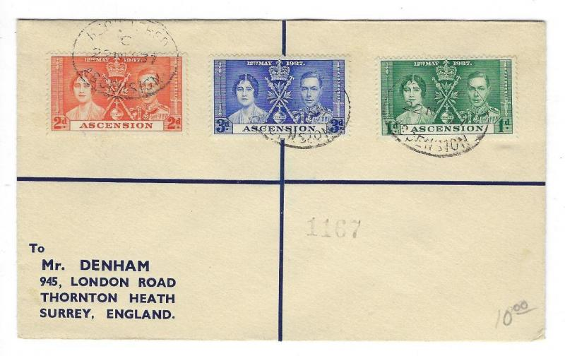 1937 Ascension To Britain Cover - With King George Coronation Set (II39)