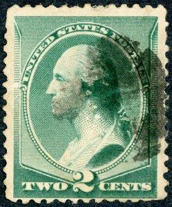 #213 – 1887 2c Washington, green.  Used Avg.