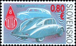 Stamps of Slovakia 2011. - Technical monuments: Historical cars-aerodynamic Tatr