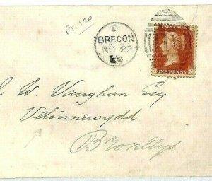 GB WALES Cover *Brecon* Duplex 1870 Penny Plate 120 Velinnewydd {samwells}CS334