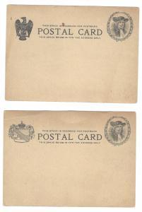 2 Essay Postal Stationery Cards Quaker William Penn Masonic KGE Eagle Unused