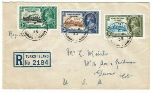 Turks & Caicos Islands 1935 registered cover to the U.S., franked Silver Jubilee
