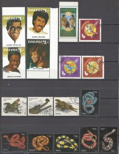 COLLECTION LOT OF # 1727 TANZANIA 17 STAMPS 1992+