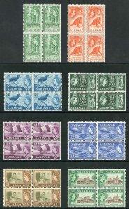 SARAWAK SG204/11 1964-65 Wmk w12 set of 8 in blocks of 4 U/M