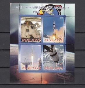Malawi, 2008 Cinderella issue. Apollo 7, Space sheet of 4.