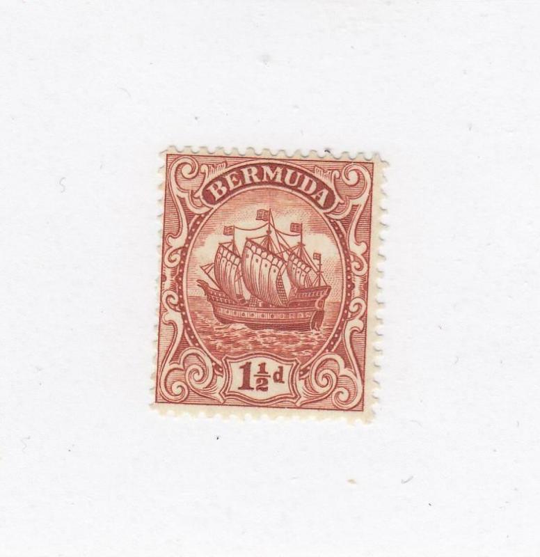 BERMUDA (MK1026) # 84 VF-MLH  11/2d  CARAVEL SHIP/RED-BROWN CAT VALUE $11