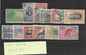 Liberia #183-194 Used - Set - CAT VALUE $7.35