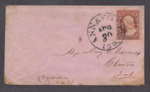 **US 19th Century Pink Cover SC# 26a, Annapolis, IN 8/30 CDS, DPO4, No Contents