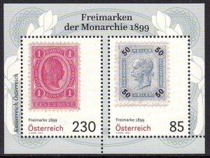 AUSTRIA 2021 STAMP ANNIVERSARY STAMP-ON-STAMP MONARCHIE 1899 [#2104]