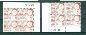 Greenland. 2. Mnh.4-Plate Blocks 1975  #  G 009  90 Ore Telecommunication.Slania