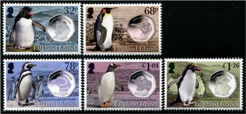 2020 Falkland Is Penguins with Coins (5) (Scott NA) MNH