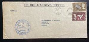 1965 Honiara Solomon Islands Geological OHMS Airmail Cover to Honolulu Hawaii
