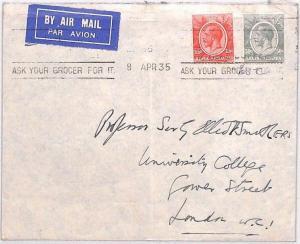BN247 1935 British KUT Airmail *ASK YOUR GROCER* Machine Slogan Cover London UNI
