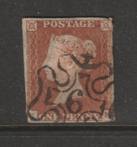 Great Britain an imperf 1d brown with a No. 4 Maltese Cross cancel