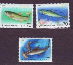 J23384 JLstamps 1985-7 south korea part of set mnh #1417-9 fish