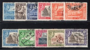 Aden Sc #36-46 (1951) KGVI Surcharges Pictorial Set Complete Used