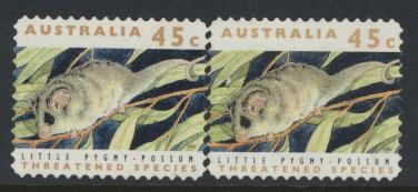 Australia SG 1330  Used pair different phosphors  perf 11½ Threatened Specie...