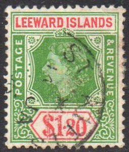 Leeward Islands 1954 $1.20 yellow-green and rose-red used