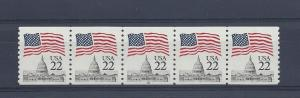 United States, 2115b, 22c Flag/Capital Dome Plt Strip of 5 Plt# 18, **MNH**