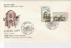 Turkish Federated Cyprus 1978 Europa CEPT Building Slogan FDC Stamps Cover 23578