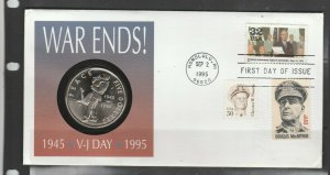 USA Coin Cover 1995, 50th anniv VJ day 1945, $5 coin stating PEACE,