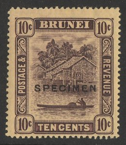 BRUNEI : 1908 View 10c , SPECIMEN, wmk mult crown.