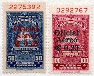 (I.B) Nicaragua Revenue : Consular 50c + 100c (Air Mail Overprints)