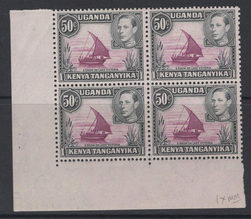 KENYA, UGANDA & TANGANYIKA SG144d 1949 50c REDDISH-PURPLE & BLACK MNH BLK4(1xMM)