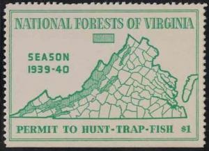 Virginia VA Hunting National Forest Permit to Hunt-Trap 2 1939-40 Resident $1.00